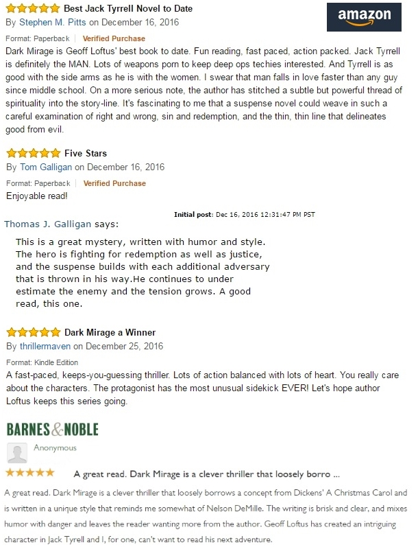 Four 5-Star Reviews for DARK MIRAGE